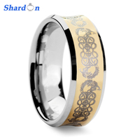 SHARDON 8mm Men's Tungsten Carbide Ring Gold Color Plated with continuous dragon pattern engraving Wedding Ring for Men