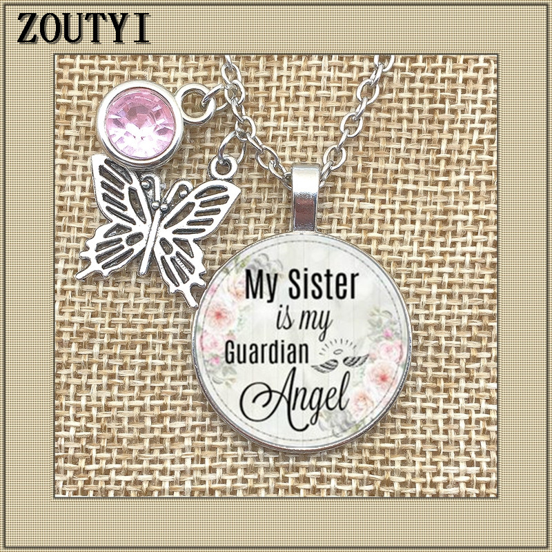 My sister 39 s guardian angel commemorates the charm To commemorate my sister my sister is the birthstone of my guardian angel in Chain Necklaces from Jewelry amp Accessories