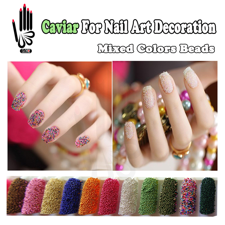Nail art 6 colors lot caviar nails decoration mixed 68 for 3d nail decoration