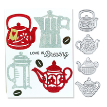 Julyarts Decor Metal Cutting Die Teapot Teakettle Set Cuts Dies For Scrapbooking Embossing Crafts DIY