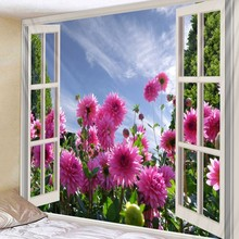 Flower Outside The Window Printed 3D Wall Tapestry Mandala Tree Trippy Scenery Boho Decor Dorm Living Room Hanging