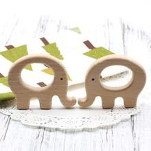 Mordedor de madera de haya sin terminar, 20 Uds. x 70mm, elefante, Clip para chupete, elefante, charm, collar de lactancia, piezas