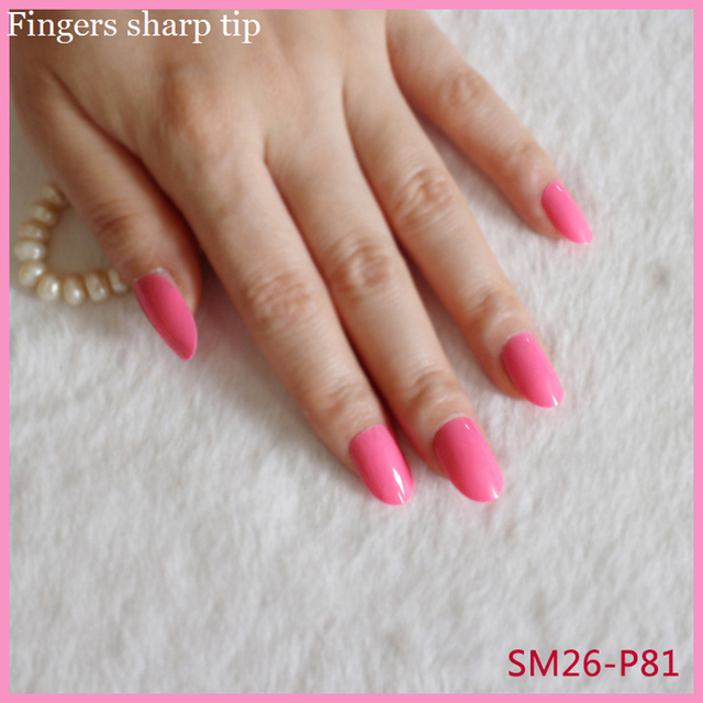 24 Pcs Set Sweet Fashionable Long Round Head Pink Fake Nails Candy Color Pure