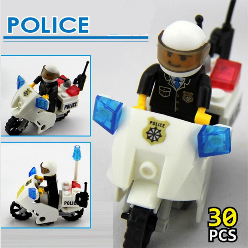 New lepin Police Motorcycle Playmobile 30pcs Building Blocks Bricks Assemblage Education Toys Model Toys For Children Brinquedos