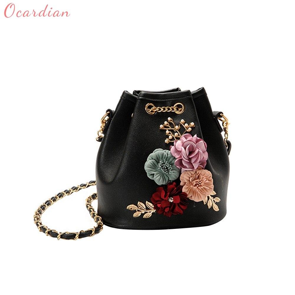 Ocardian 2017 Hot Sale New Fashion Flower Bucket Bag Shoulder Messenger Bag Women's Handbags Master Designer Dropship 170929