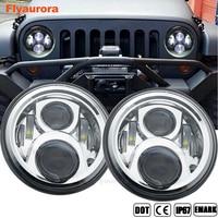 flyaurora 2 Pcs 7 Inch 60W Round Headlight For Jeep Wrangler 97 15 7 Round LED Headlight Headlamp CJ TJ JK