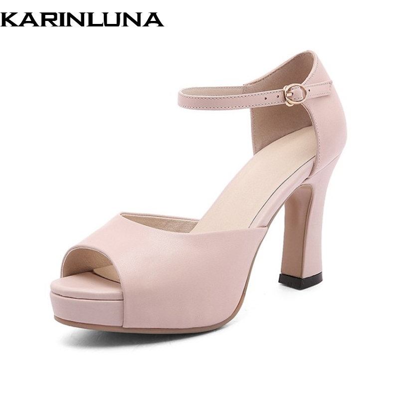 KarinLuna New women's Genuine Leather Square High Heels Buckle Strap Platform Shoes Woman Casual Summer Sandals Big Size 33-40 woman fashion high heels sandals women genuine leather buckle summer shoes brand new wedges casual platform sandal gold silver