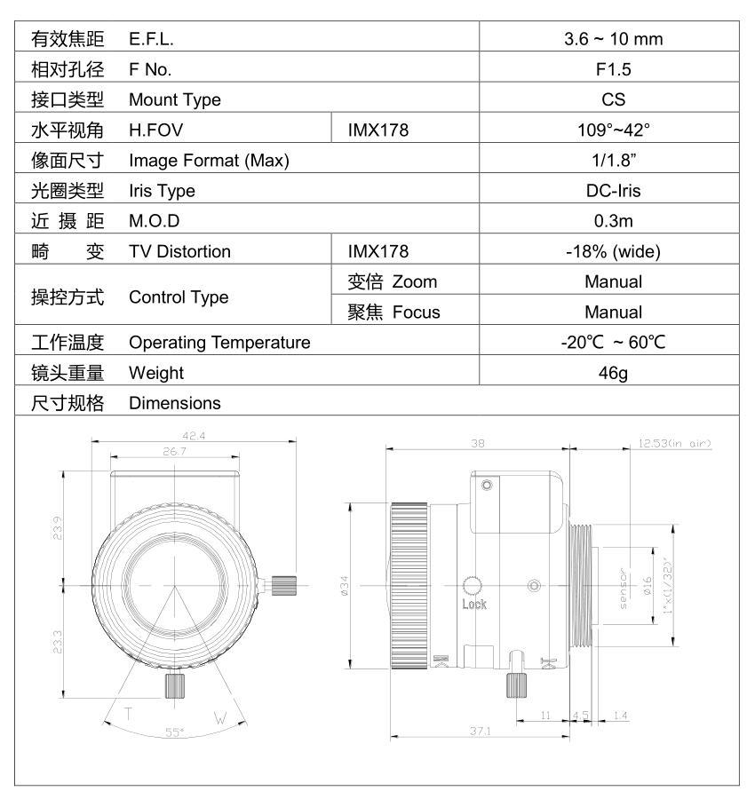 36 10 mm Varifocal Manual Zoom SMTSEC 118 DC AUTO IRIS HD 6MP – Iris Wiring Diagram