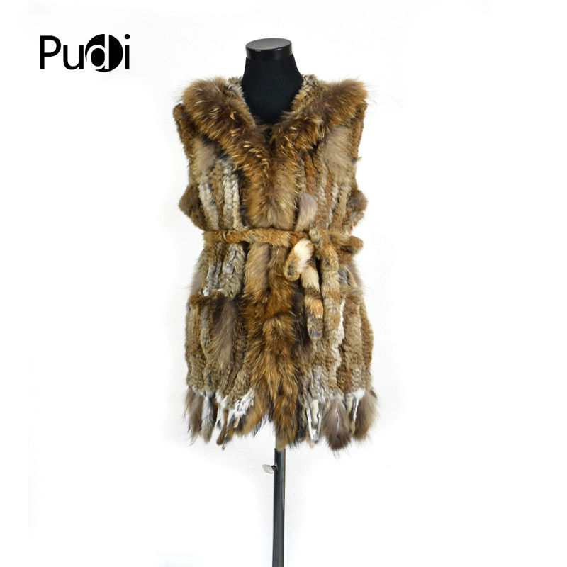 VR061 Genuine rabbit fur long vest women's girls warm real fur black white brown jacket with raccoon fur collar plus size globe panther golden brown fur