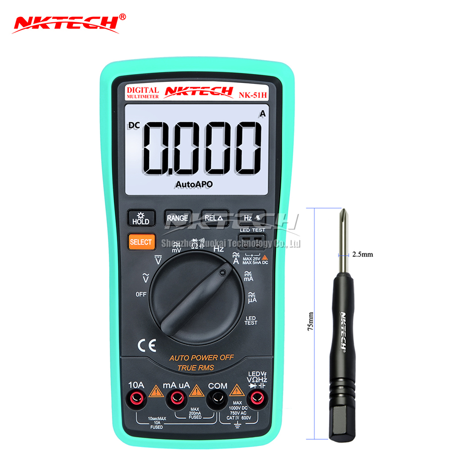 NKTECH Digital Multimeter NK-51H LED Test Auto Power off True RMS Frequency Capacitance Resistance AC DC Voltage Current Diode 1 pcs mastech ms8269 digital auto ranging multimeter dmm test capacitance frequency worldwide store