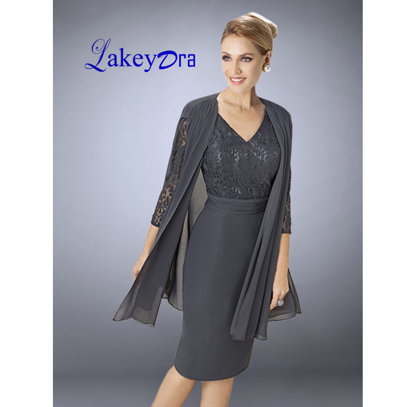 Lakeydra Gray Lace Mother Of The Bride Dresses With