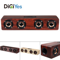 4 Horns 12W Wooden Wireless Bluetooth Speaker with TF Card Playback and AUX Wired Connection for Smartphone / PC / Television