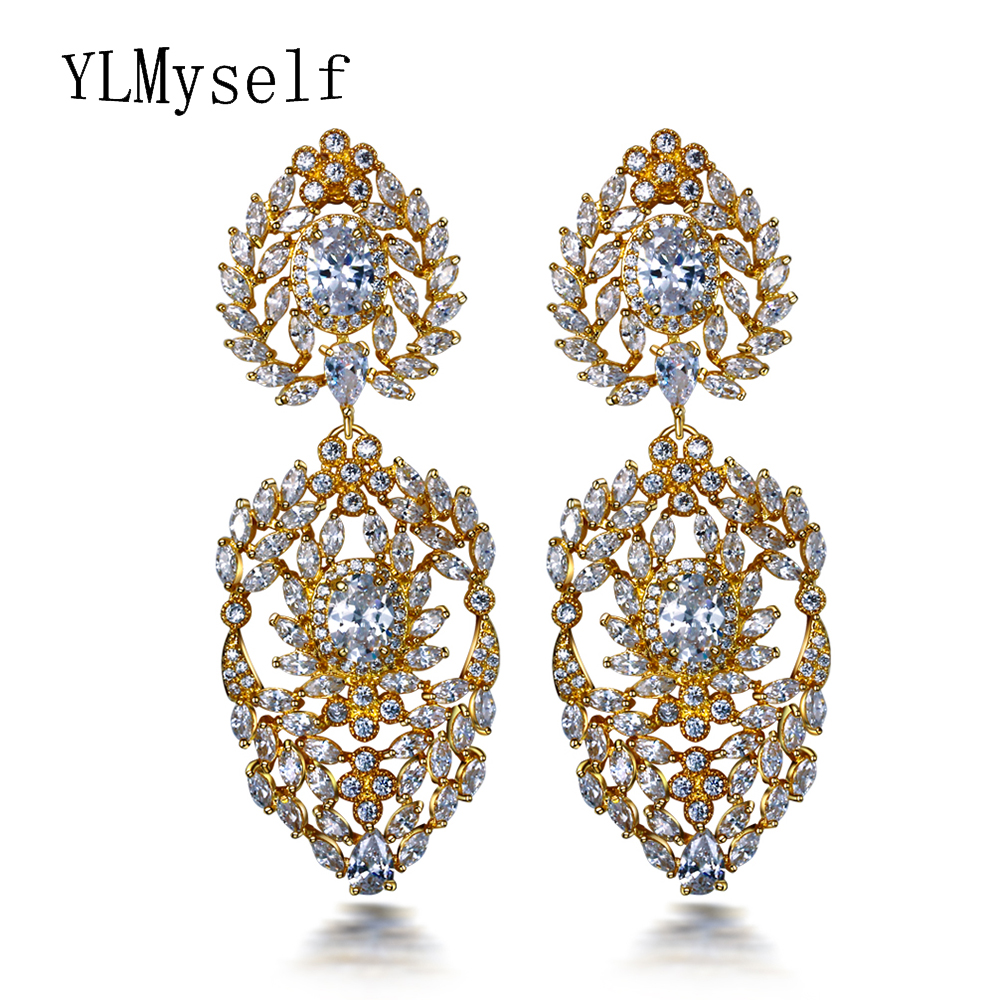 Furniture High Quality Jewelry New Pendientes Aros Dorados Gold Color Long Crystal Rhinestone Big Earring For Party Large White Earrings