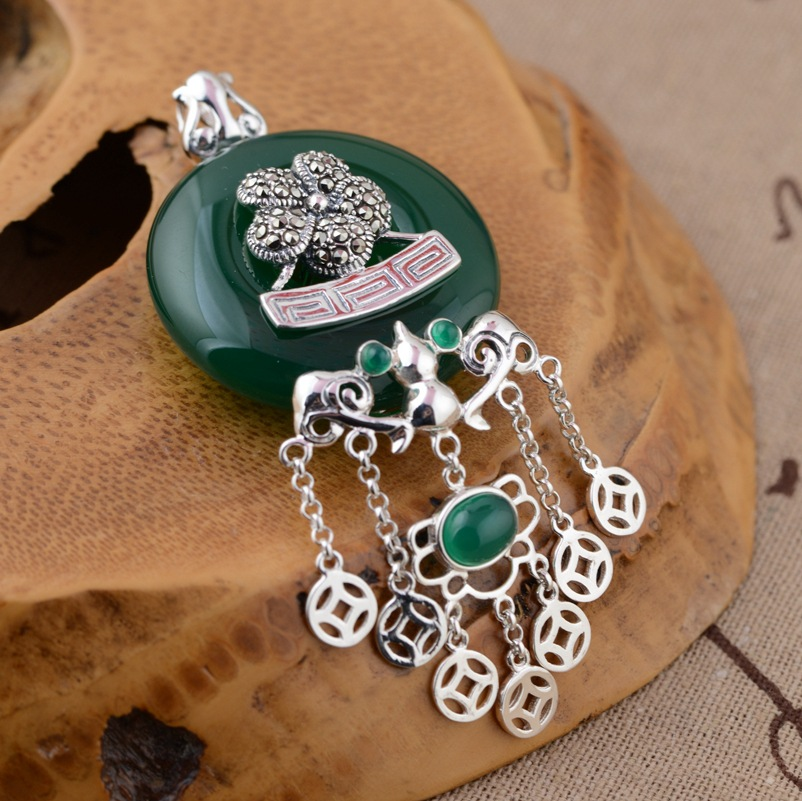 Thai silver pendant S925 wholesale silver inlaid natural green chalcedony pendant exquisite gift tassel sweater chain wltoys 12428 12423 1 12 rc car spare parts 12428 0091 12428 0133 front rear diff gear differential gear complete