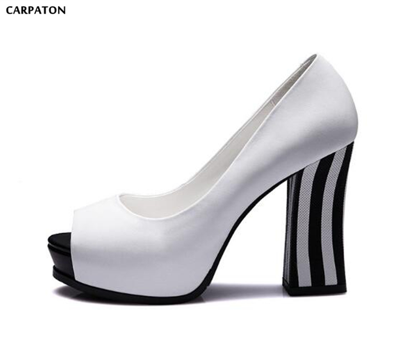Carpaton Newest Western Style PU Leather Peep Toe Mixed Colors Square Heel Fashion Platform Shallow Concise Women Sandals