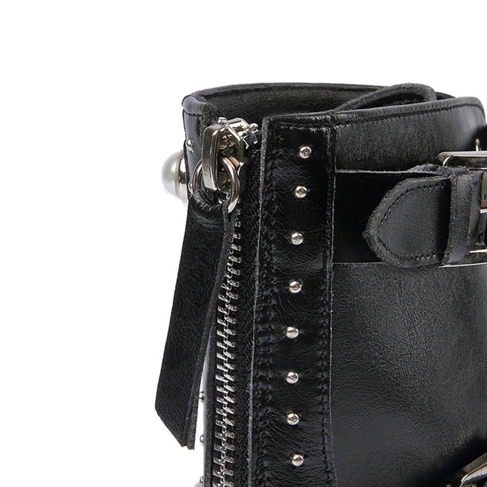 MStacchi nouvelles femmes Rivet bottes en cuir véritable bottes perle femme chaussures boucle décontracté bottes chaussures femme bottines Botas Mujer - 5