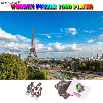 MOMEMO The Eiffel Tower Wooden Puzzle 1000 Pieces Landscape Jigsaw Puzzle World Famous Building Puzzles Adult Attractions Toys