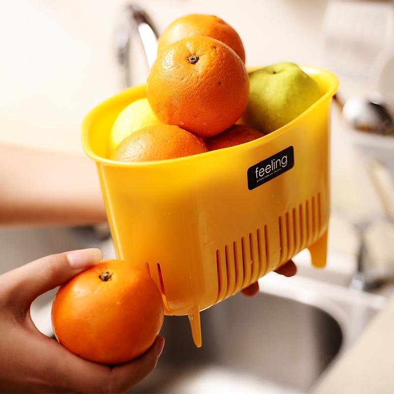 Multifunctional Hollow Drain Vegetable Fruit Storage Racks Basket Bathroom Makeup Brush Holder Desktop Rubbish Storage Basket