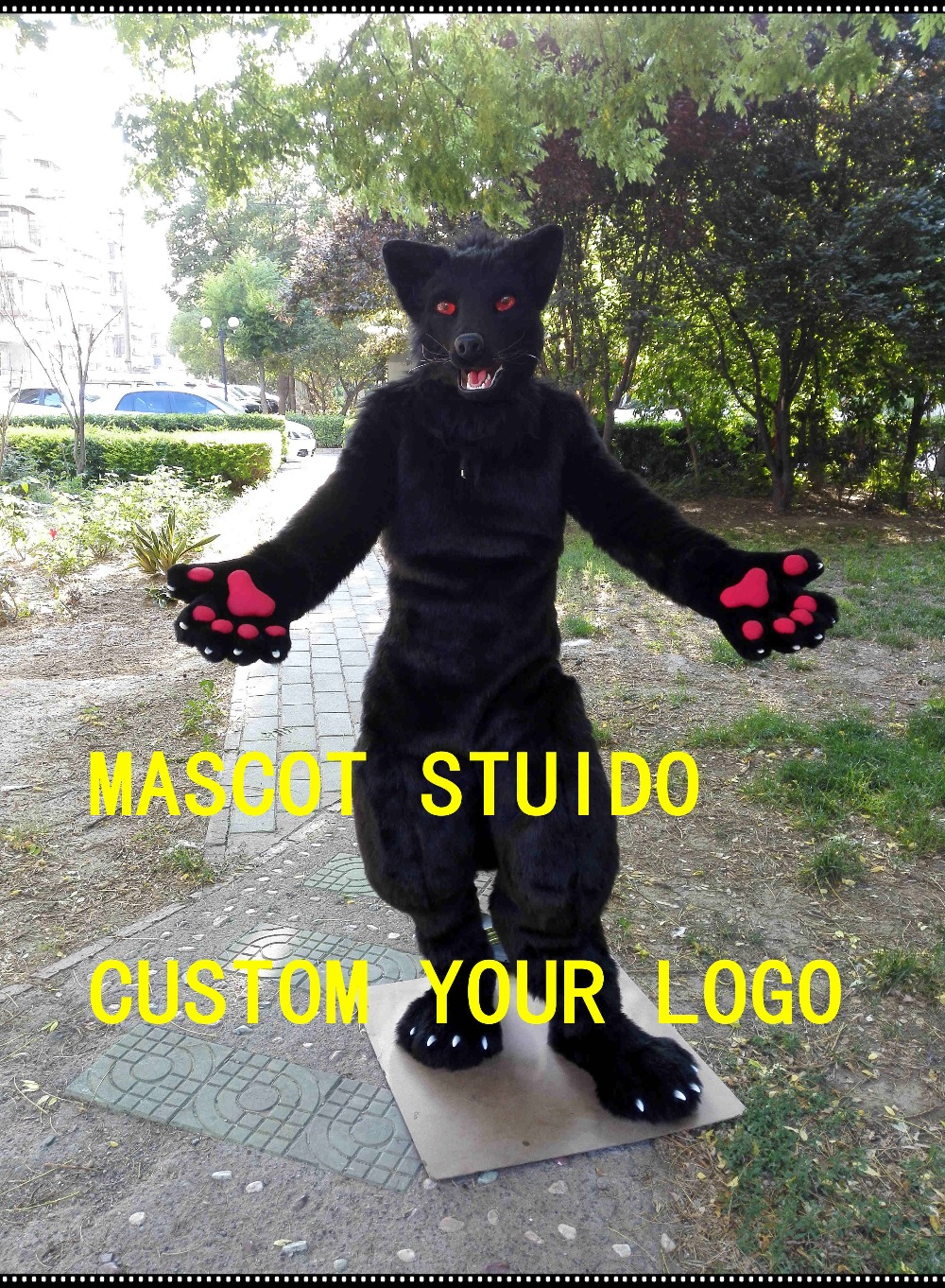 US $2000 0 |black wolf fursuit move jaw digigrade leg 3d following eyes dog  fursuit mascot costume for sale open commissions 41986-in Mascot from