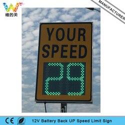 Impermeable, personalizado, puente de carreteras de aluminio, 12V, batería alimentada por Radar, señal de límite de velocidad