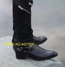 Military Cowboy Boot Genuine Leather Cow Leather Men Boots high top Zipper fashion british style fashion men Chelsea Boots