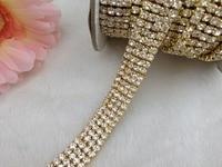 Free Shipping 4 Rows 4mm 888 Rhinestone Gold Chain Cake Ribbon Trim Wedding Decoration X 1
