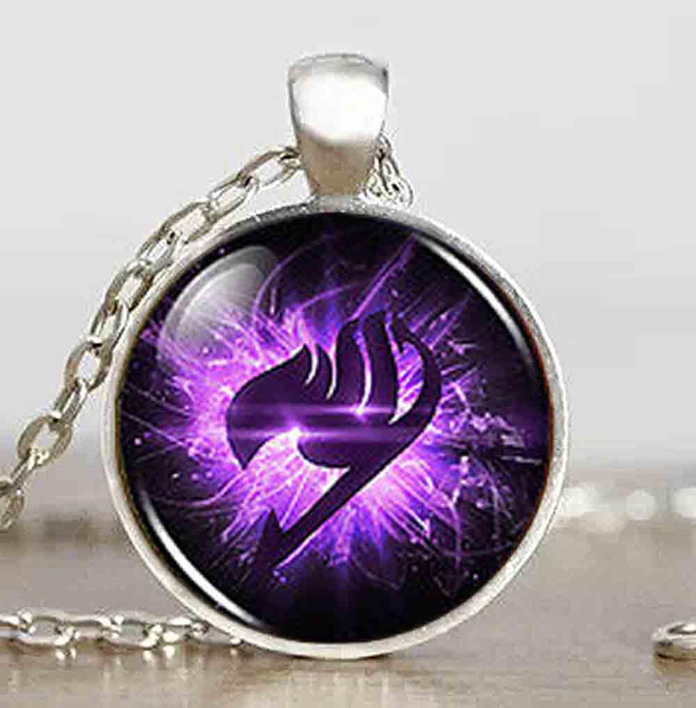 Anime Fairy Tail Guild Marks Purple Wing Pendant Steampunk Kalung dr yang 1 pcs / lot alice in wonderland perhiasan pria vintage 2017