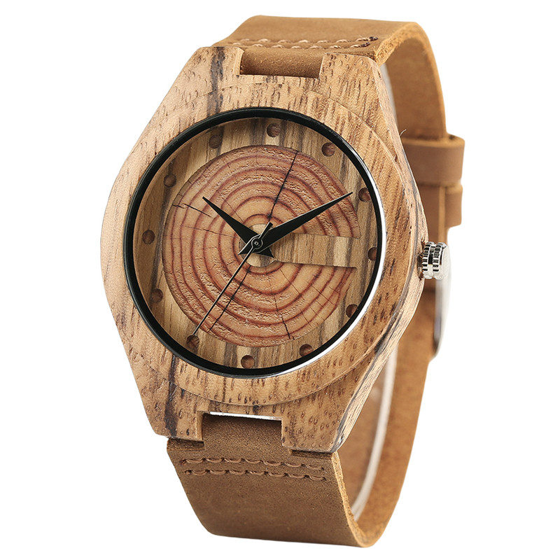 Creative Brown Bamboo Growth Ring Natural Handmade Men Quartz Wrist Wooden Watches Genuine Leather Band Sports Clock Gifts