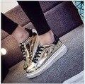 2016 НОВЫЕ Моды для Женщин повседневная обувь, женские квартиры Обувь толстым дном обувь кроссовки средней школы студентов кроссовки