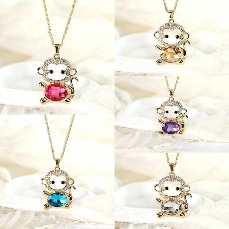 New Popular 5 Colors Multicolor Long Chain Crystal Sweater Pendant Necklace Cute Monkey Necklace For Girls Women's Party Jewelry