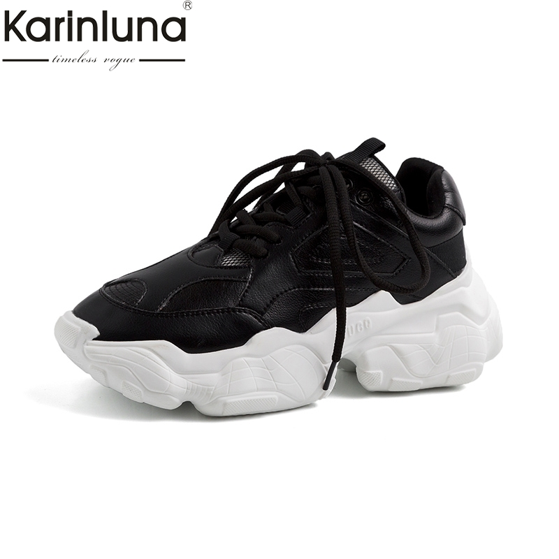 Karinluna Chic comfortable soft light genuine cow leather INS shoes woman chunky sneakers Platform woman shoes
