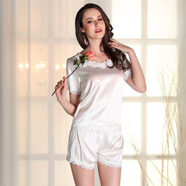 353bf15118 Pyjama Sexy Pajamas Summer Satin Nightwear Silk Pajamas For Women Pijama  Plus Size Short Sleeve Homewear Sleepwear Sets E1118-in Pajama Sets from  Underwear ...
