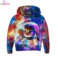 New Autumn Girls Boys Hoodies 2019 Astronaut Cat Space Galaxy Print 3D Children Clothing Pullover