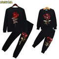 Menoea 2017 New Winter Style Family Matching Outfits Mother And Daughter Long Sleeve Rose Floral Sweatshirt+Pants 2Pcs Suit