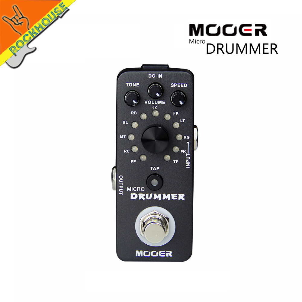 Mooer Micro Drummer Digital Drum Machine Guitar Effects Pedal Personal Drummer 121 Drumbeats 11 Music Styles True Bypass mooer ensemble queen bass chorus effect pedal mini guitar effects true bypass with free connector and footswitch topper