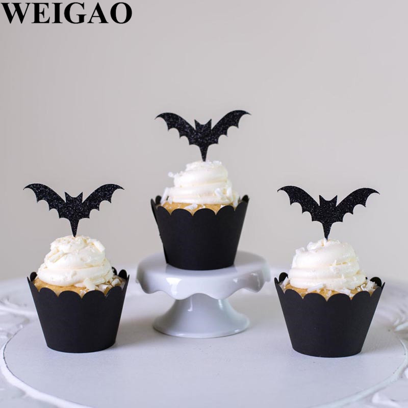 WEIGAO Halloween Party Cake Toppers Bat Cupcake Wrappers Kids Happy Halloween Party Cake Topper Event Party Decor Supplies-in Party DIY Decorations from Home & Garden