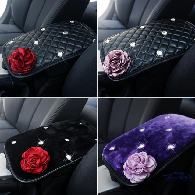 Leather Car Auto Armrest Cushion Crystal Rose Vehicle Center Console Armrest Seat Box Pads Protective Case Plush Armrest Cushion