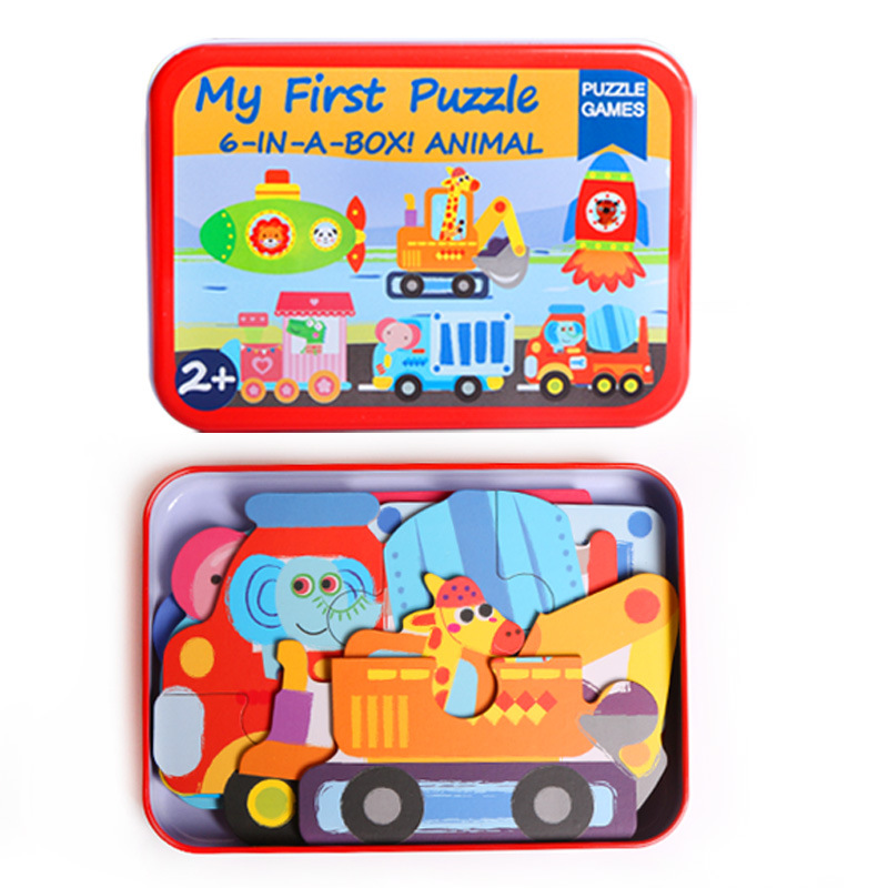 Children's creative early education wooden puzzle 6 in 1 iron box jigsaw puzzle cartoon wooden toy puzzle