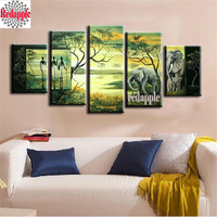 Diamond Painting African women Landscape sunset Scenery Picture of Rhinestones painting Square Cross stitch 5pcs muliti pictures