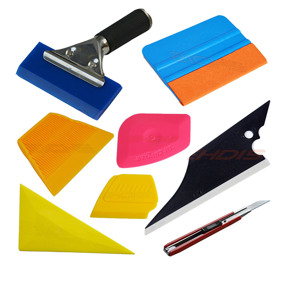 8Pcs Car Window Film Installation Tool Kit Auto Window Solar Film Trim Handled Rubber Squeegee Felt