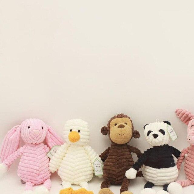 Lovely Plush Toy Forest Animal Stripe Elephant Lion Fox Rabbit Panda Monkey Soft Doll Birthday Gift Stuffed Plush Animals