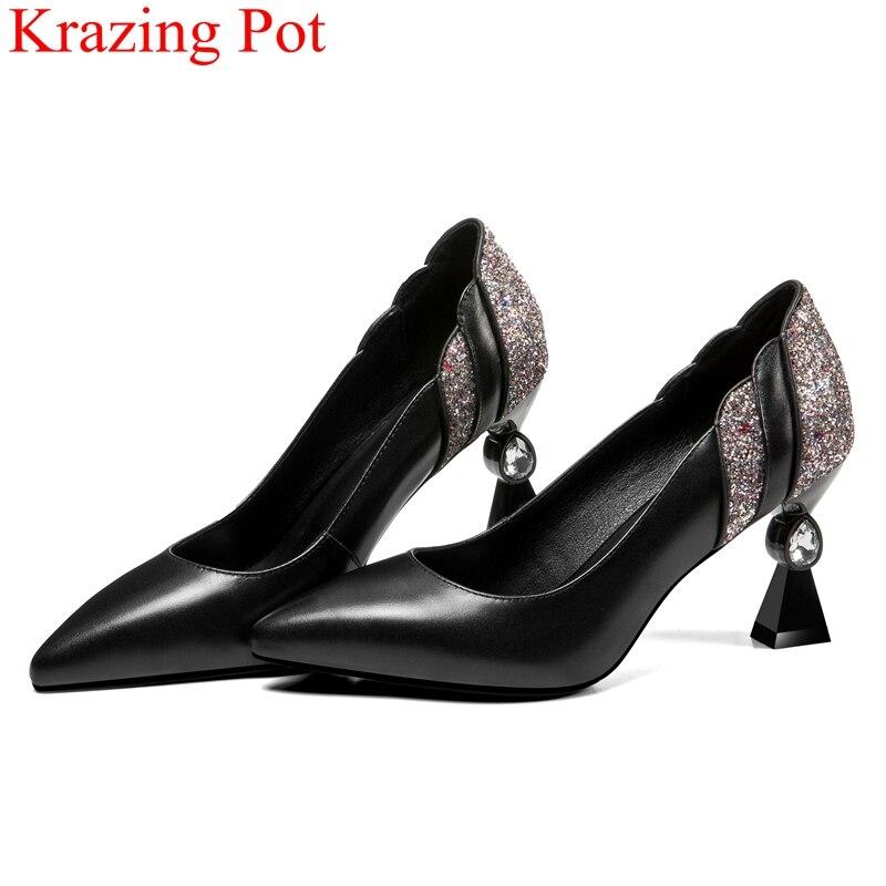 2018 superstar di marca di autunno scarpe superficiale di cristallo donne di stile strano pompe office lady elegante slip on bling scarpe da sposa scarpe L1f1