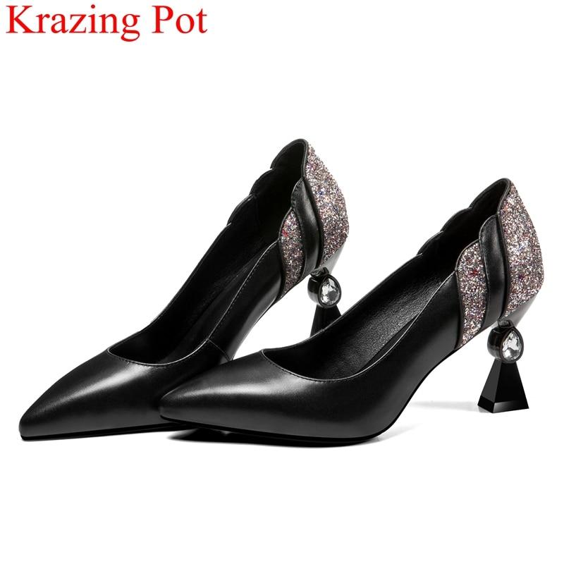 2018 슈퍼 스타 브랜드 가을 신발 얕은 크리스탈 이상한 스타일 여성 펌프 사무실 레이디 우아한 슬립 블링 웨딩 신발 l1f1-에서여성용 펌프부터 신발 의  그룹 1