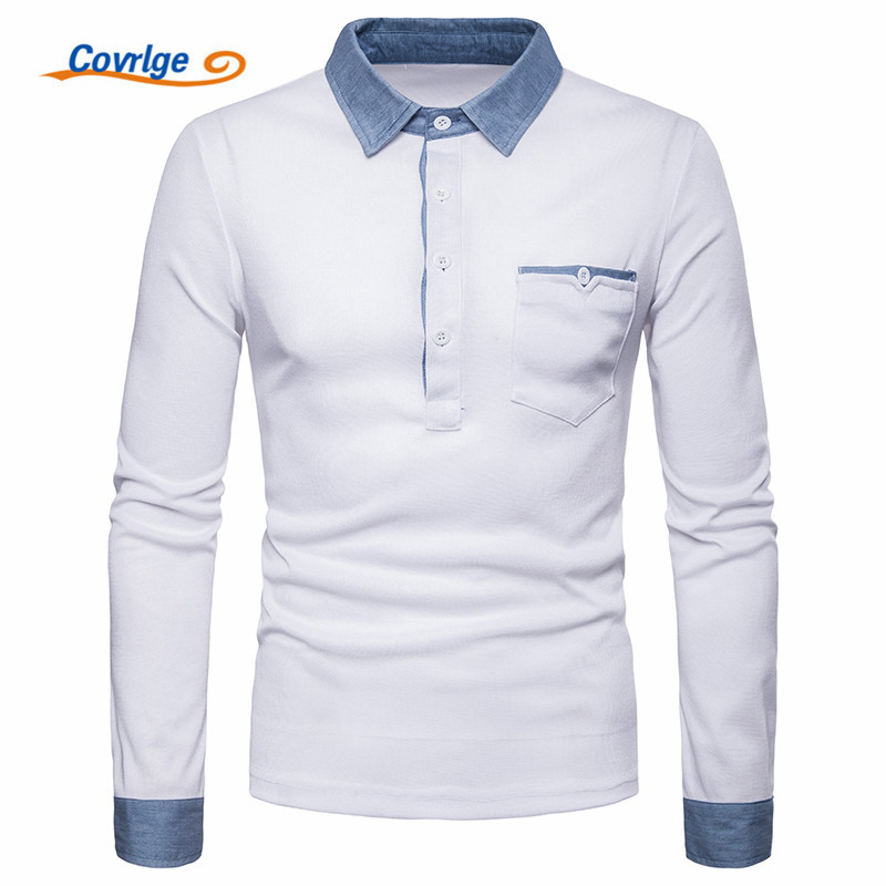 Covrlge Hot Sale New Fashion Brand Men   Polo   Shirt Solid Color Long-Sleeve Slim Fit Shirt Men   Polo   Shirts Casual Shirts MTP099