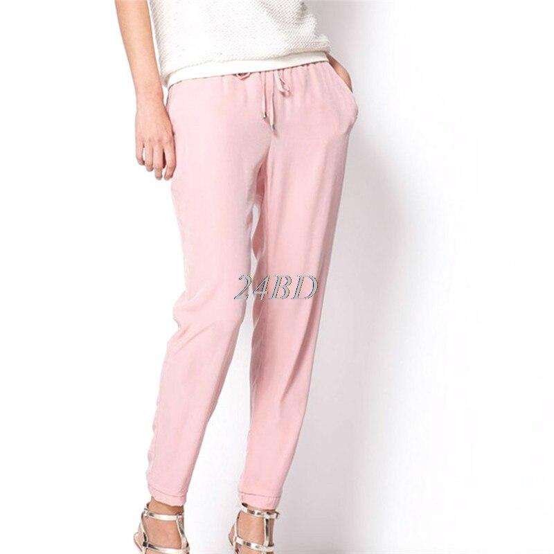 Women Chiffon Elastic Waist Elastic Waist Color Pants Bright Color Summer Slim Lady Yoga Pants S26