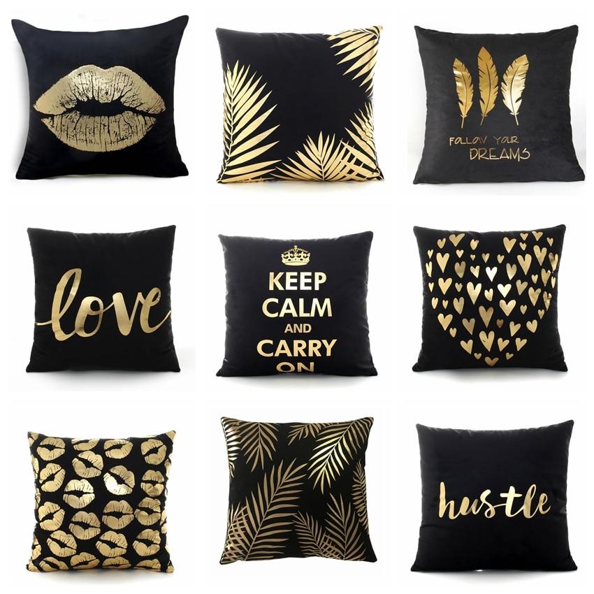 Black Bronzing Gold Foil Pillowcase Super Soft Velvet Cushion Decorative Pillow Home Decor Sofa Throw Pillows Christmas Gift 17