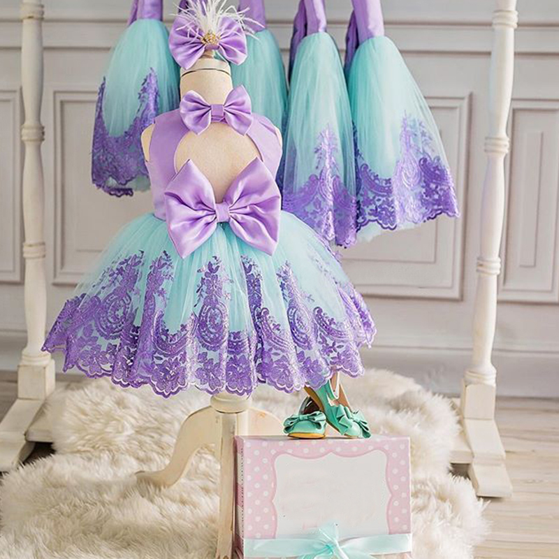 Summer Princess Girl Baby Christening Dress Fancy Tutu Bow Decoration Birthday Dresses For Girls Back Hollow Out Formal Costume