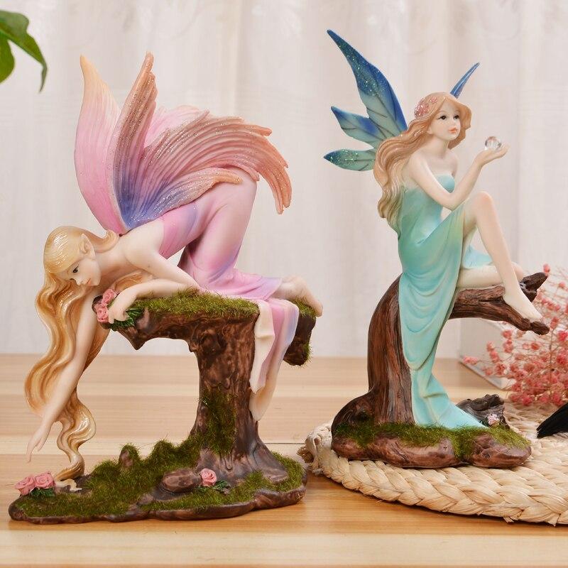 Creative Doll Ornaments Crafts Elf Angel Resin Fairy Garden Flower Fairy Miniature Figurines Wedding Gift Living Room Home Decor