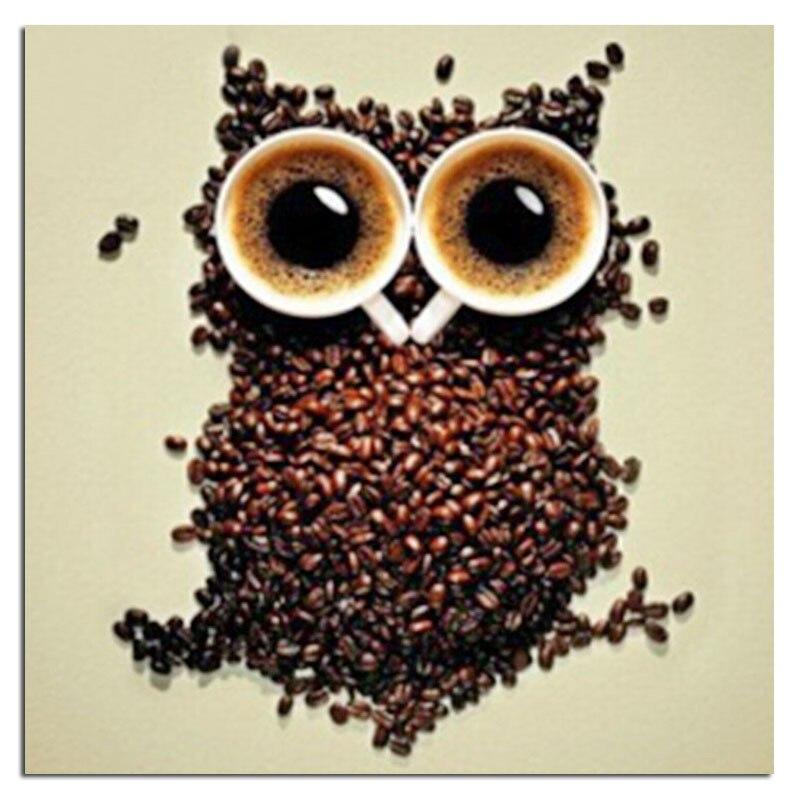 Uil koffie 20x20 cm nieuwe 100% volledige gebied hoogtepunt diamant - Kunsten, ambachten en naaien