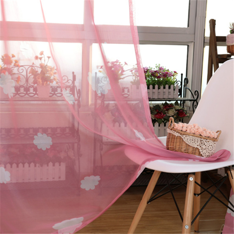 Living Room Window Curtain Cute Tulle Pastoral Drapes Voile Sheer ...